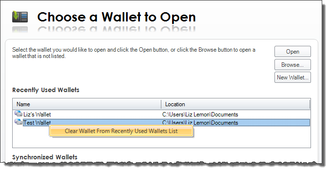 Recently Used Wallets list
