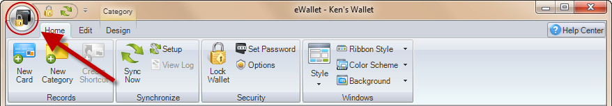 eWallet 7.0-7.2 ribbon bar